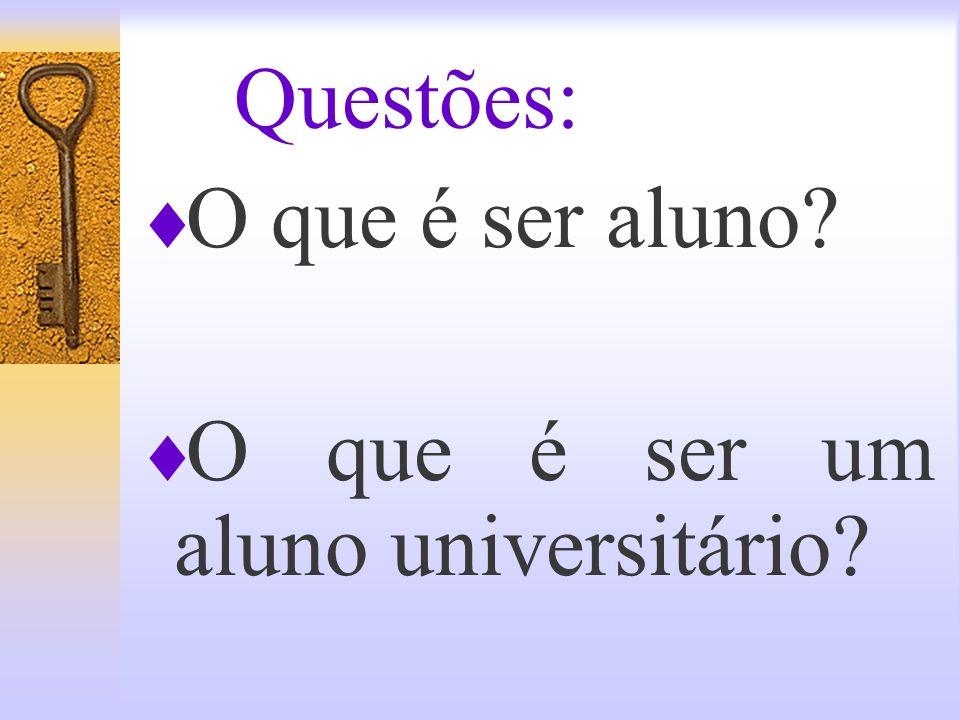 Questões: O que é ser aluno O que é ser um aluno universitário