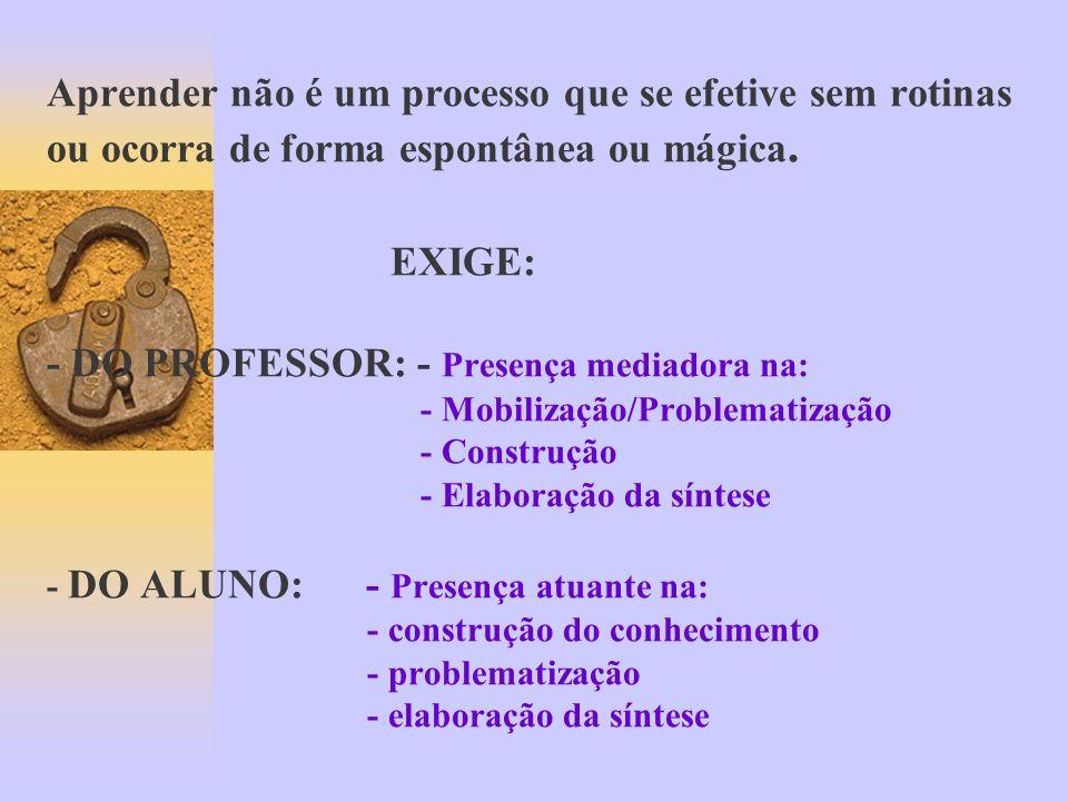 Aprender não é um processo que se efetive sem rotinas ou ocorra de forma espontânea ou mágica.
