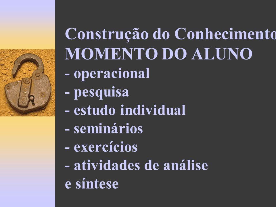 Construção do Conhecimento MOMENTO DO ALUNO - operacional - pesquisa - estudo individual - seminários - exercícios - atividades de análise e síntese