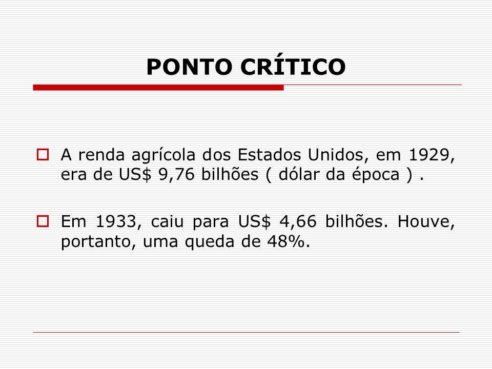 PONTO CRÍTICO A renda agrícola dos Estados Unidos, em 1929, era de US$ 9,76 bilhões ( dólar da época ) .