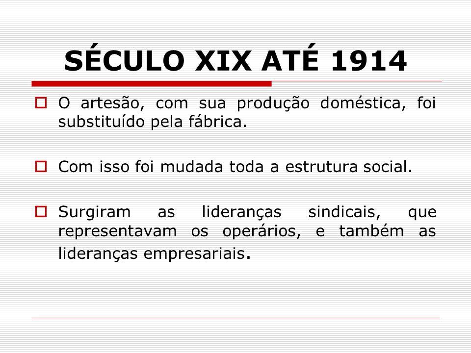 SÉCULO XIX ATÉ 1914 O artesão, com sua produção doméstica, foi substituído pela fábrica. Com isso foi mudada toda a estrutura social.