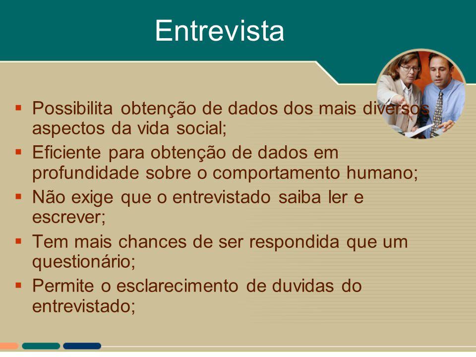 Entrevista Possibilita obtenção de dados dos mais diversos aspectos da vida social;