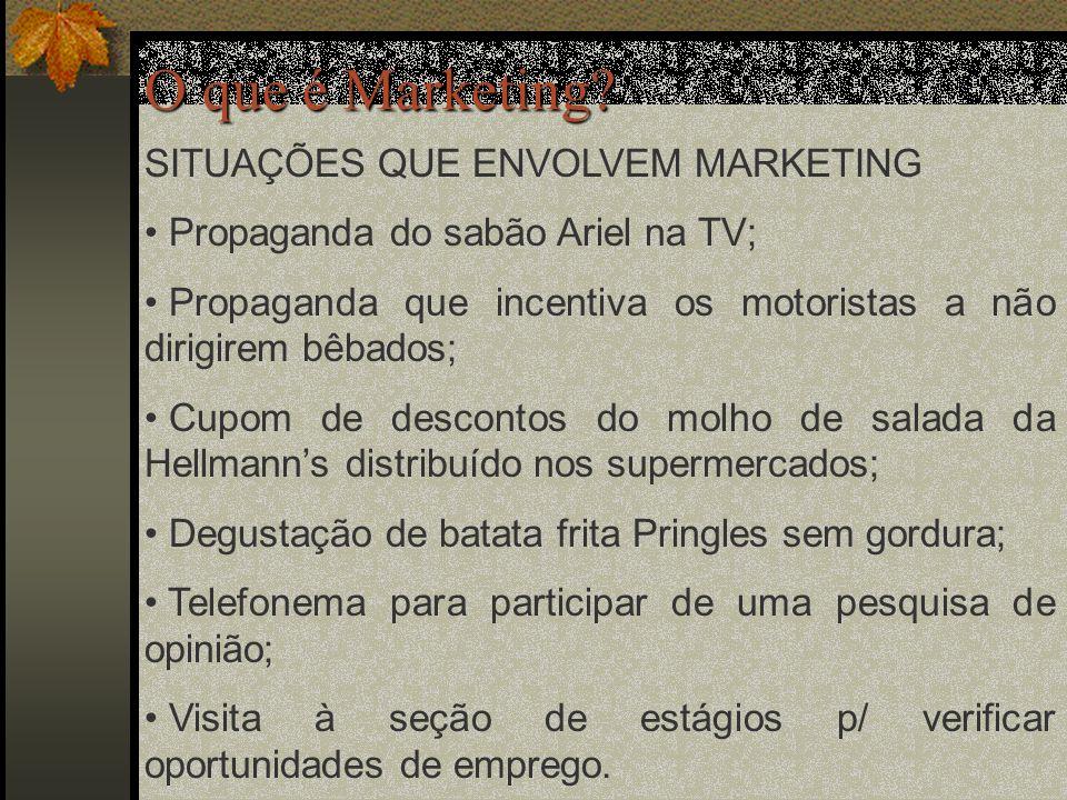 O que é Marketing SITUAÇÕES QUE ENVOLVEM MARKETING