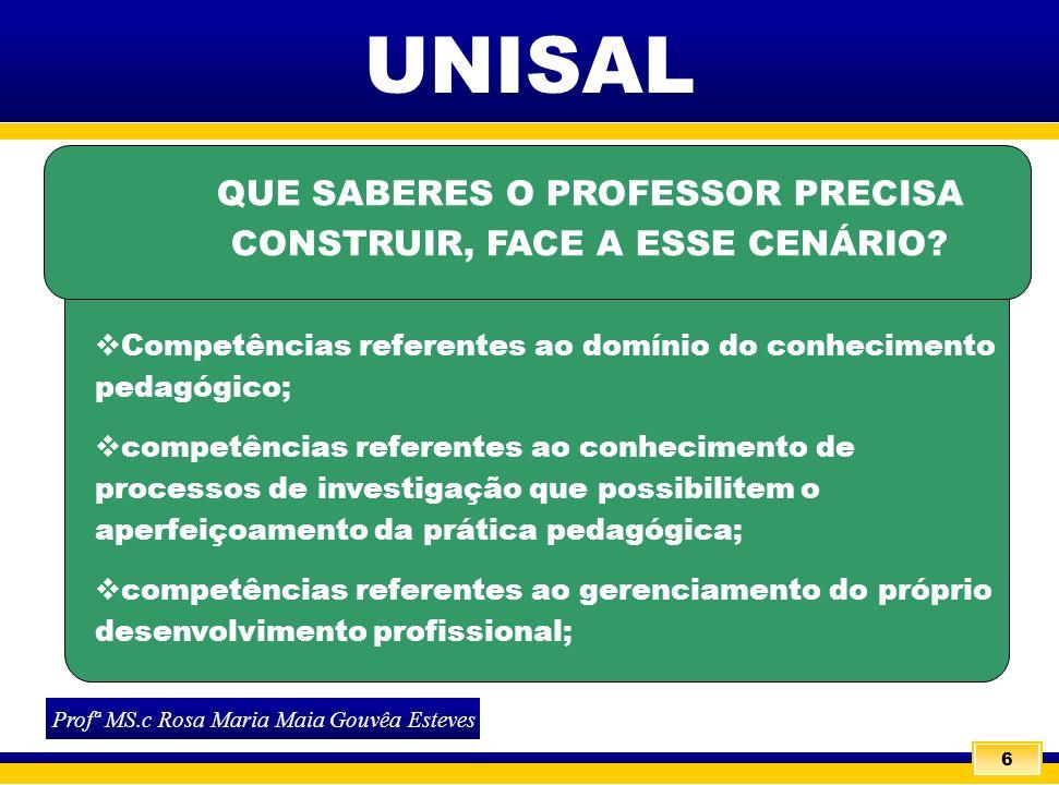 QUE SABERES O PROFESSOR PRECISA CONSTRUIR, FACE A ESSE CENÁRIO