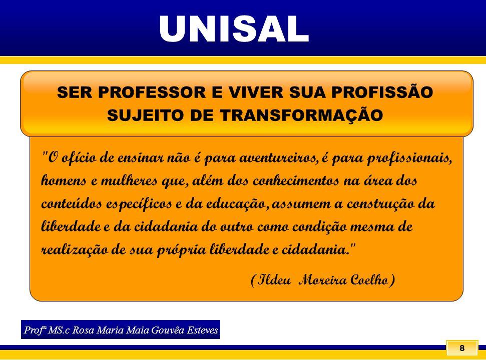 SER PROFESSOR E VIVER SUA PROFISSÃO SUJEITO DE TRANSFORMAÇÃO