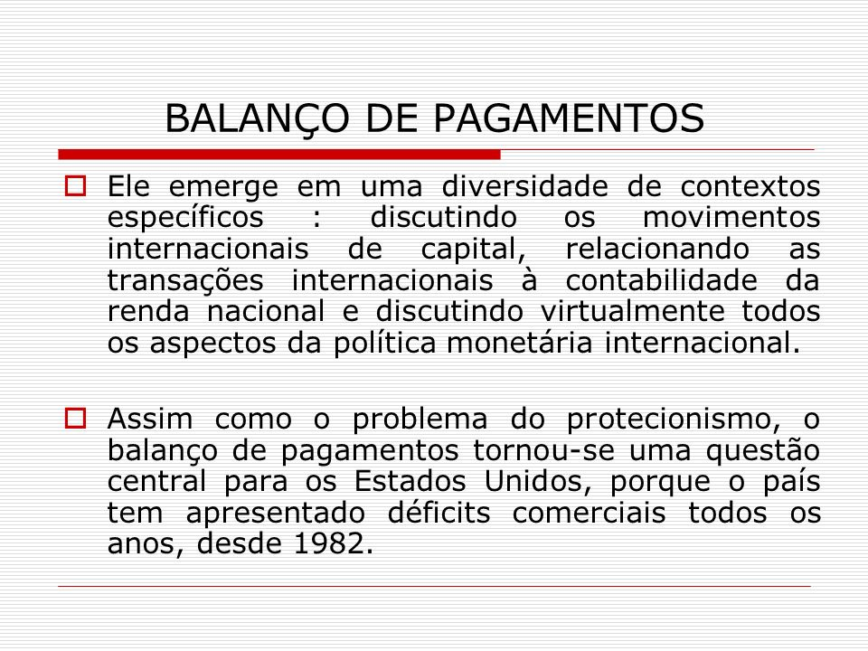 BALANÇO DE PAGAMENTOS