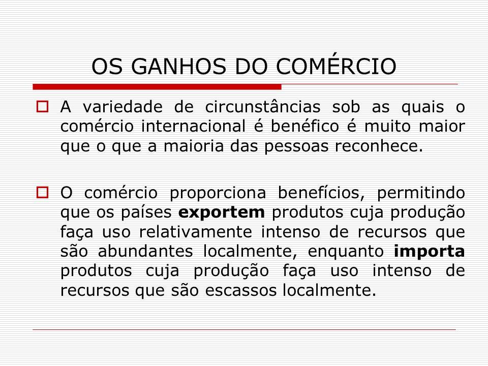 OS GANHOS DO COMÉRCIO