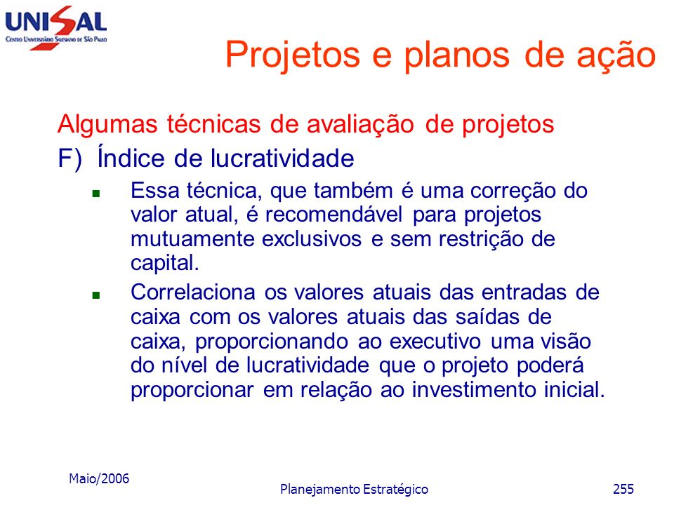 Projetos e planos de ação