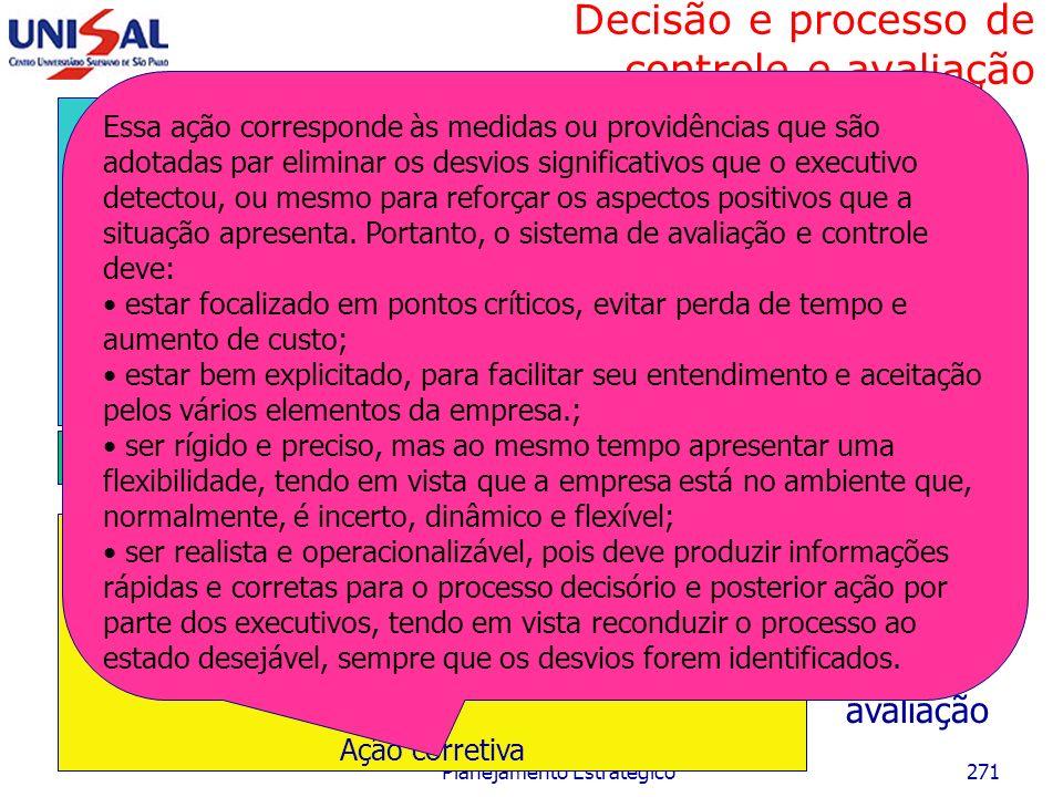 Decisão e processo de controle e avaliação