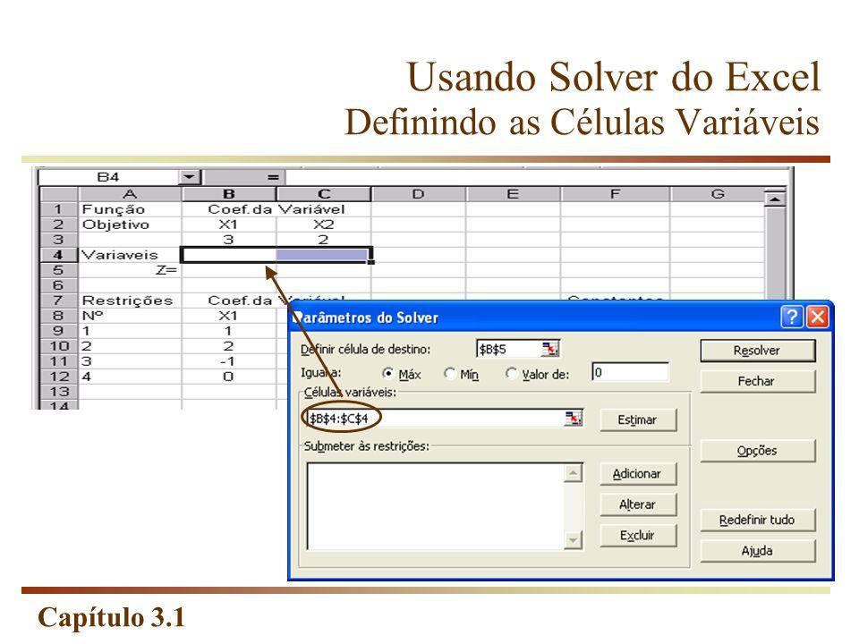 Usando Solver do Excel Definindo as Células Variáveis