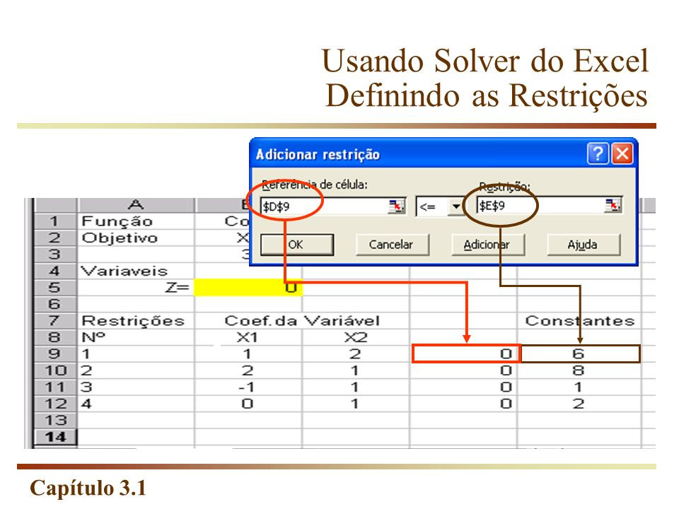 Usando Solver do Excel Definindo as Restrições