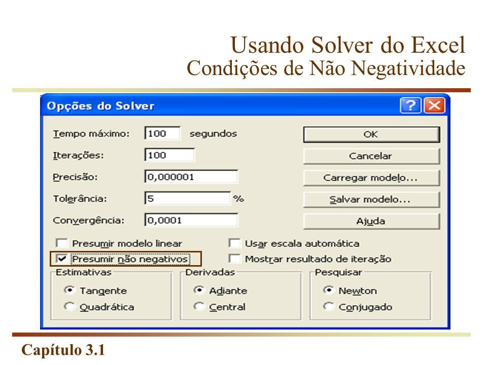 Usando Solver do Excel Condições de Não Negatividade