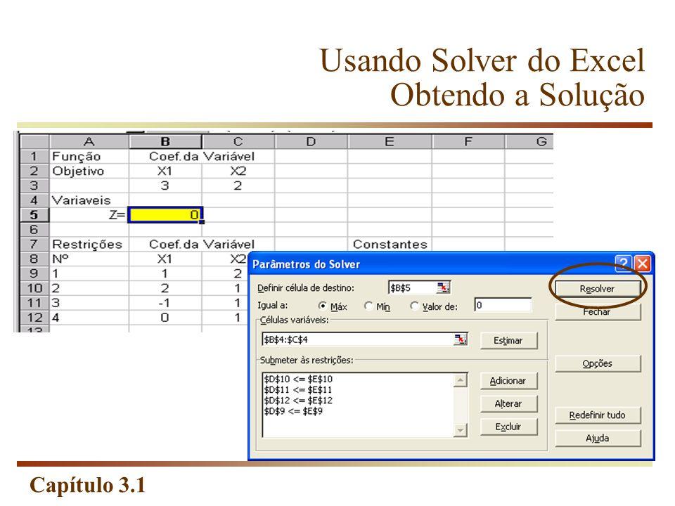 Usando Solver do Excel Obtendo a Solução