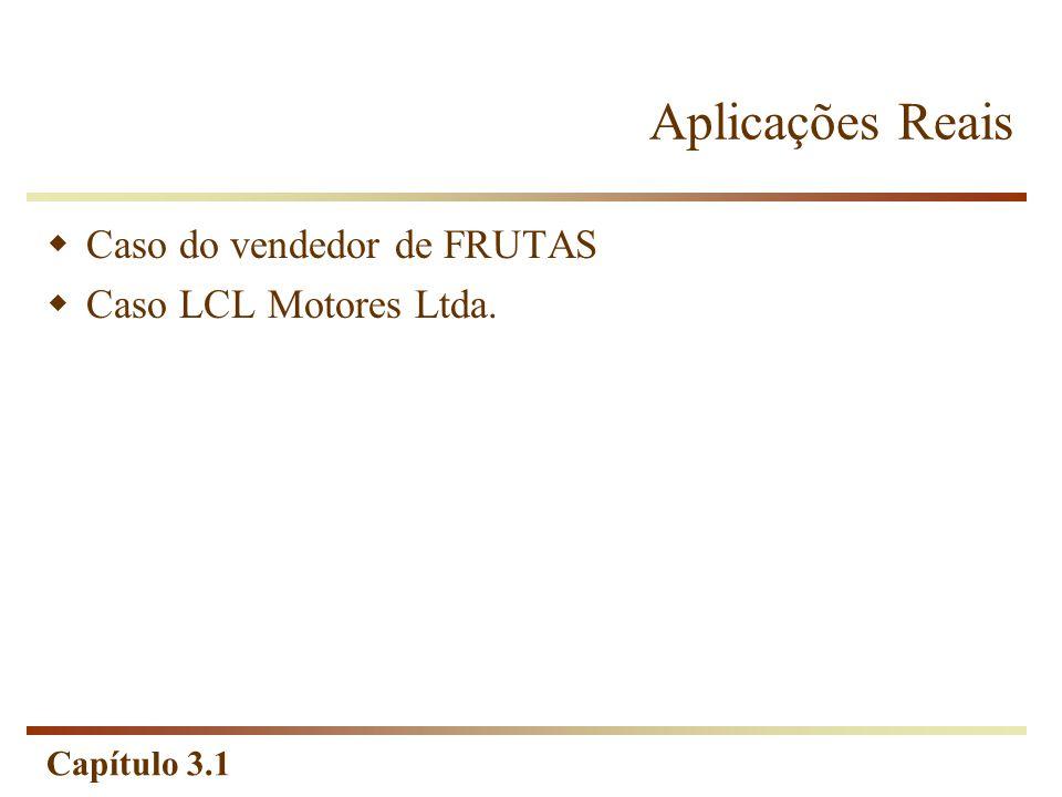 Aplicações Reais Caso do vendedor de FRUTAS Caso LCL Motores Ltda.