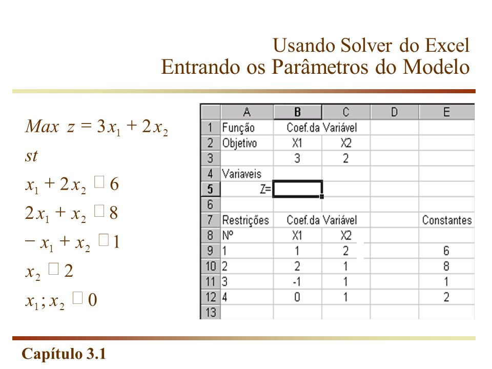 Usando Solver do Excel Entrando os Parâmetros do Modelo