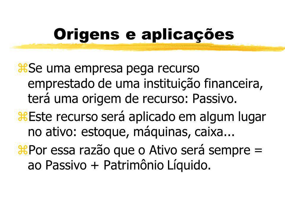 Origens e aplicações Se uma empresa pega recurso emprestado de uma instituição financeira, terá uma origem de recurso: Passivo.