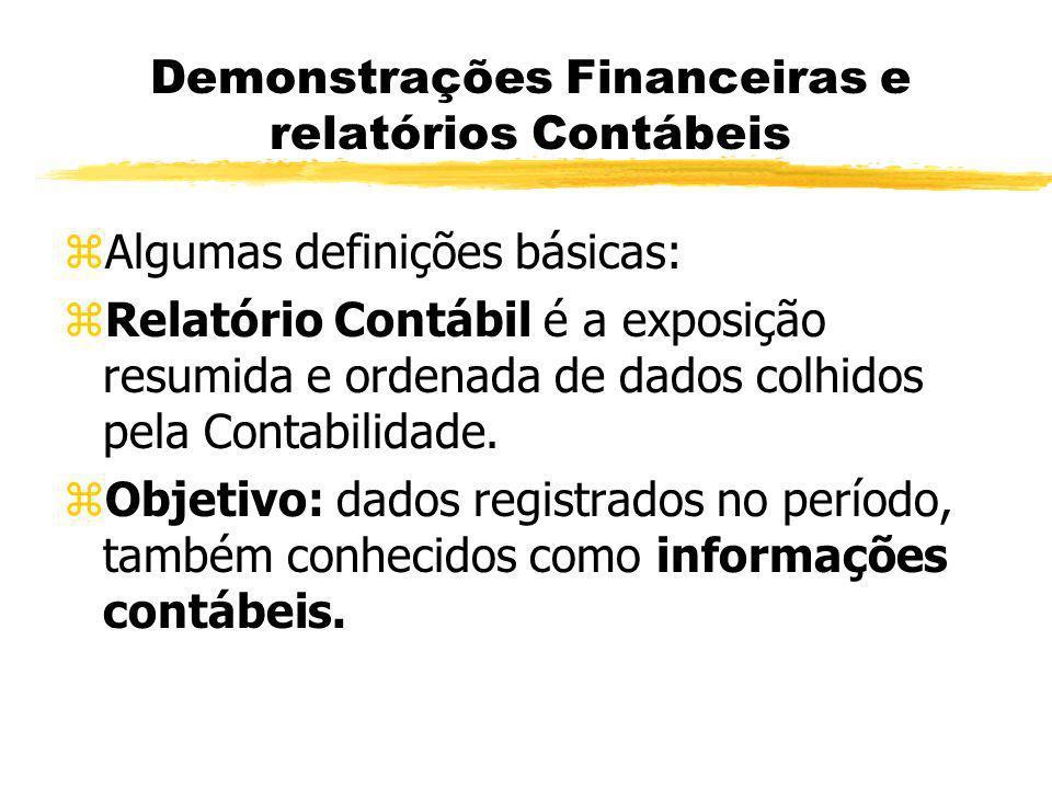Demonstrações Financeiras e relatórios Contábeis