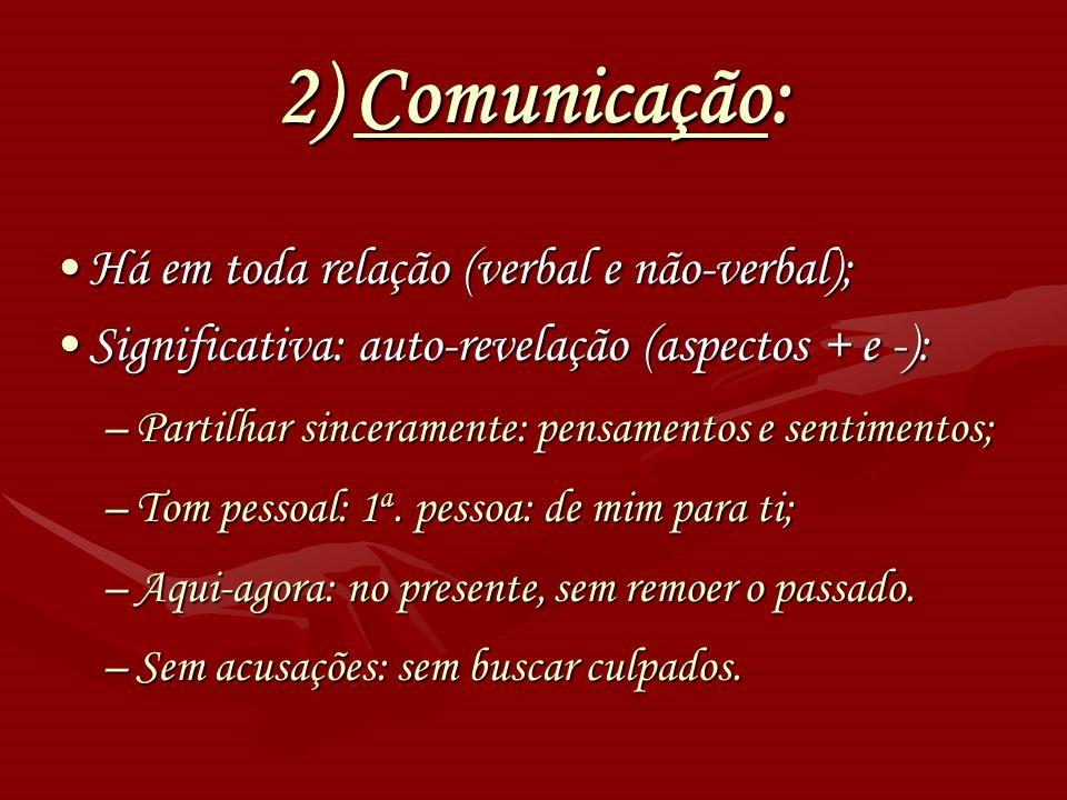 2) Comunicação: Há em toda relação (verbal e não-verbal);