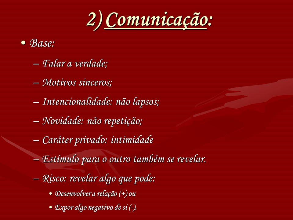 2) Comunicação: Base: Falar a verdade; Motivos sinceros;
