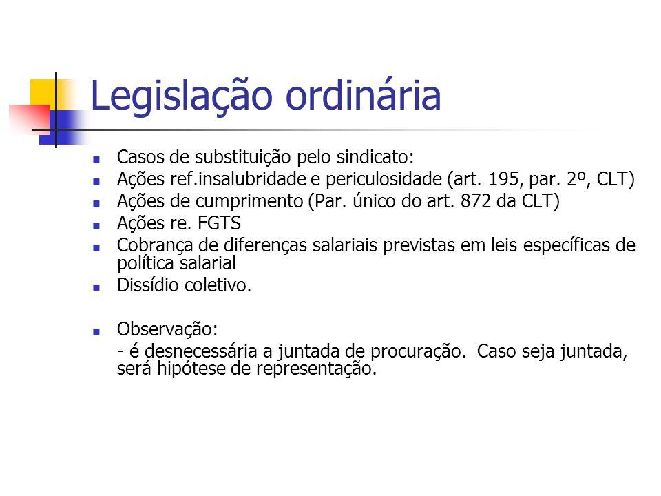 Legislação ordinária Casos de substituição pelo sindicato: