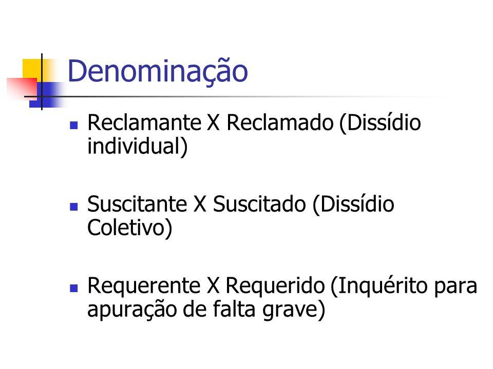Denominação Reclamante X Reclamado (Dissídio individual)