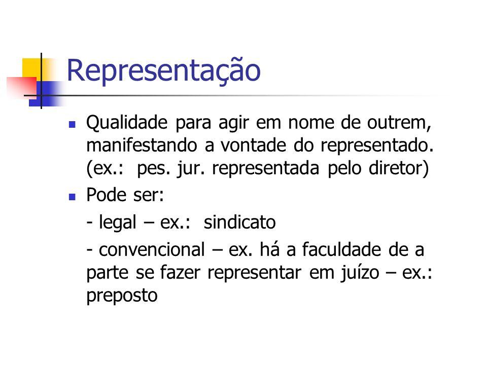 Representação Qualidade para agir em nome de outrem, manifestando a vontade do representado. (ex.: pes. jur. representada pelo diretor)
