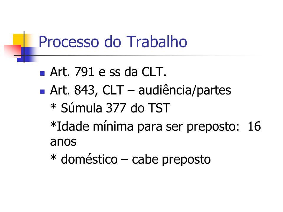 Processo do Trabalho Art. 791 e ss da CLT.