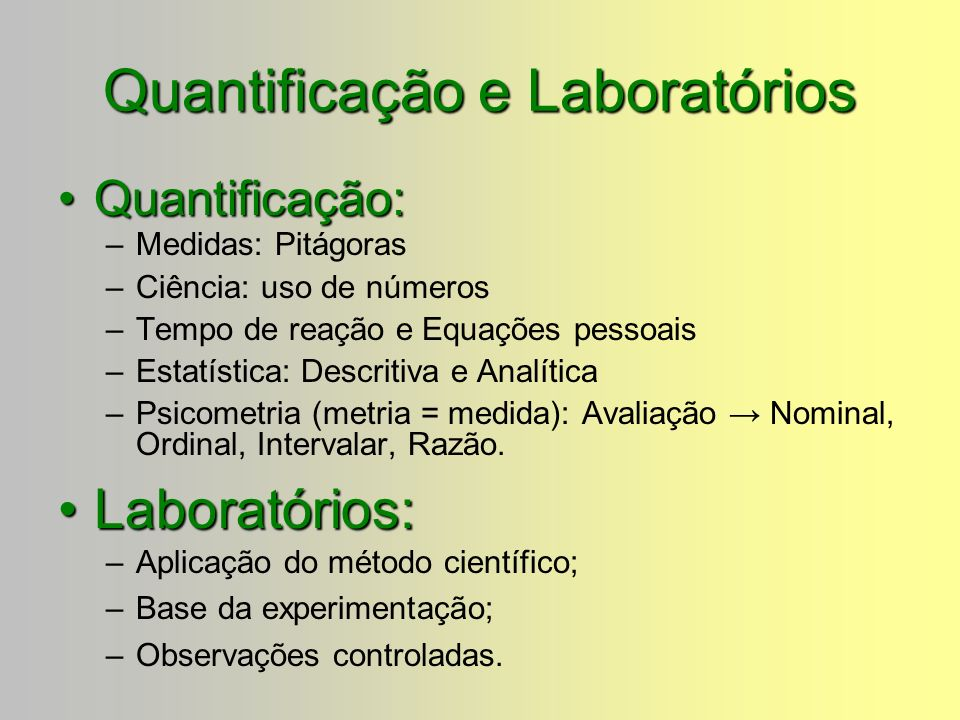 Quantificação e Laboratórios