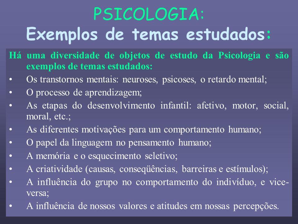 PSICOLOGIA: Exemplos de temas estudados: