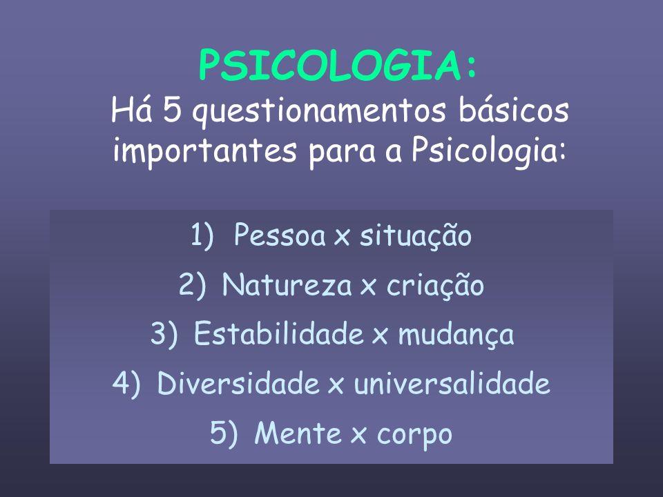 PSICOLOGIA: Há 5 questionamentos básicos importantes para a Psicologia: