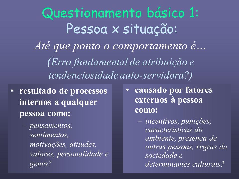 Questionamento básico 1: Pessoa x situação: Até que ponto o comportamento é… (Erro fundamental de atribuição e tendenciosidade auto-servidora )
