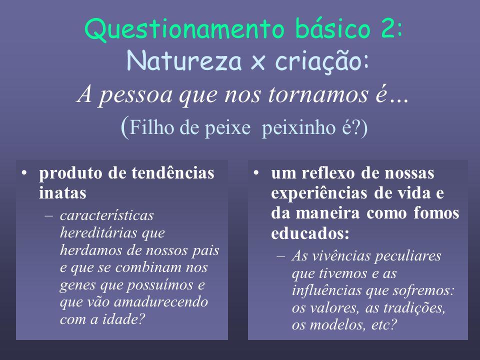 Questionamento básico 2: Natureza x criação: A pessoa que nos tornamos é… (Filho de peixe peixinho é )