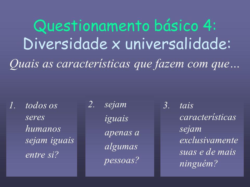 Questionamento básico 4: Diversidade x universalidade: Quais as características que fazem com que…