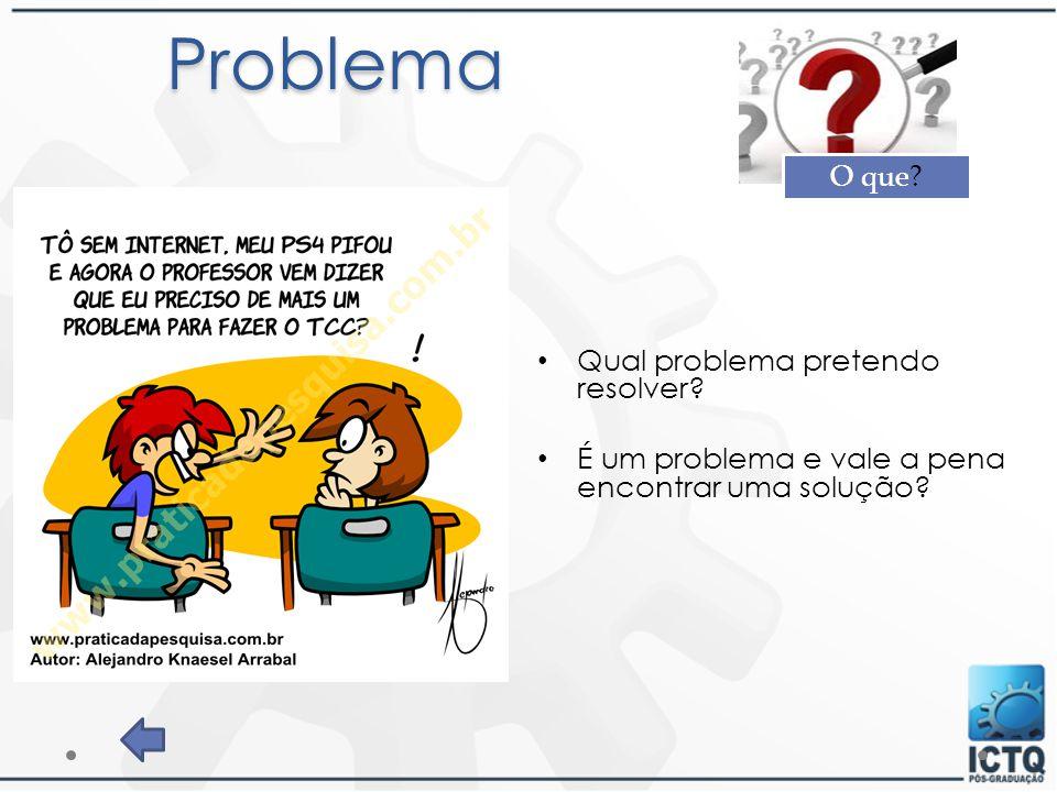 Problema Qual problema pretendo resolver