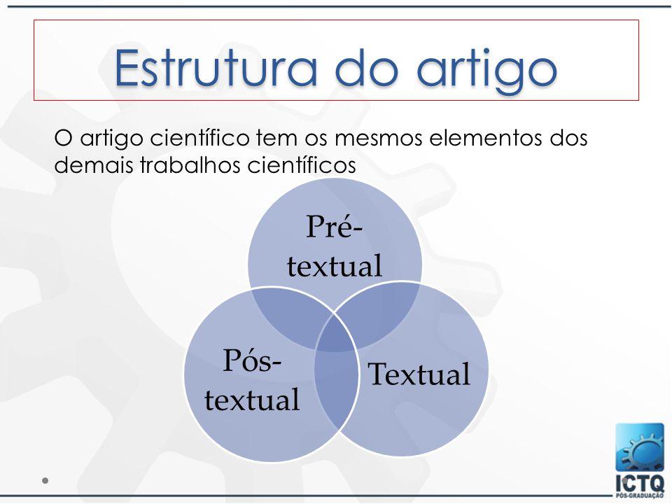 Estrutura do artigo O artigo científico tem os mesmos elementos dos demais trabalhos científicos. Pré-textual.