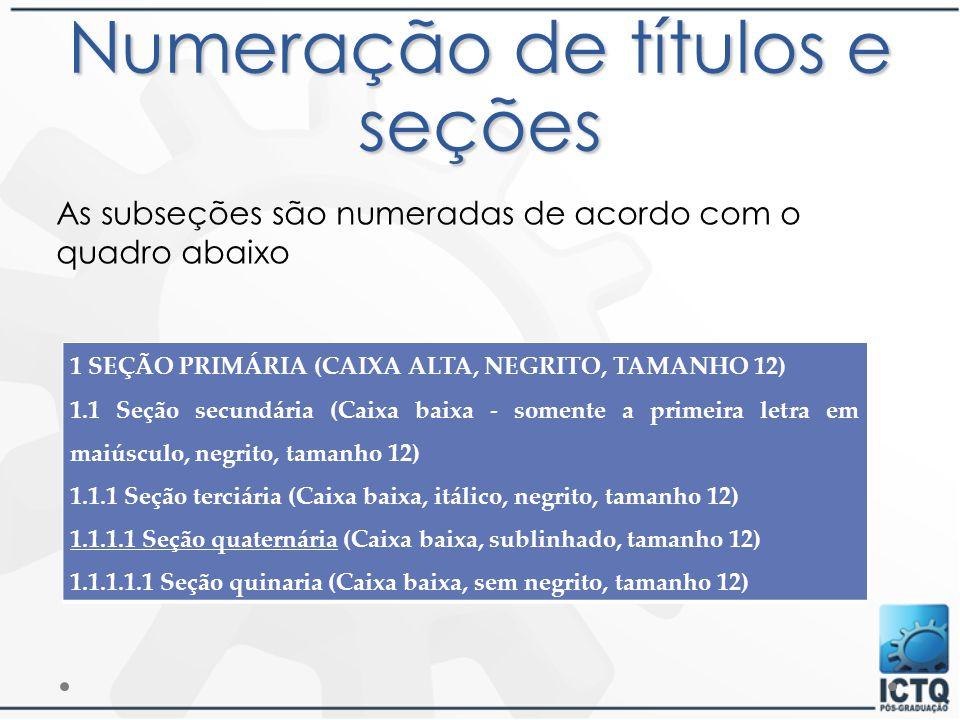 Numeração de títulos e seções