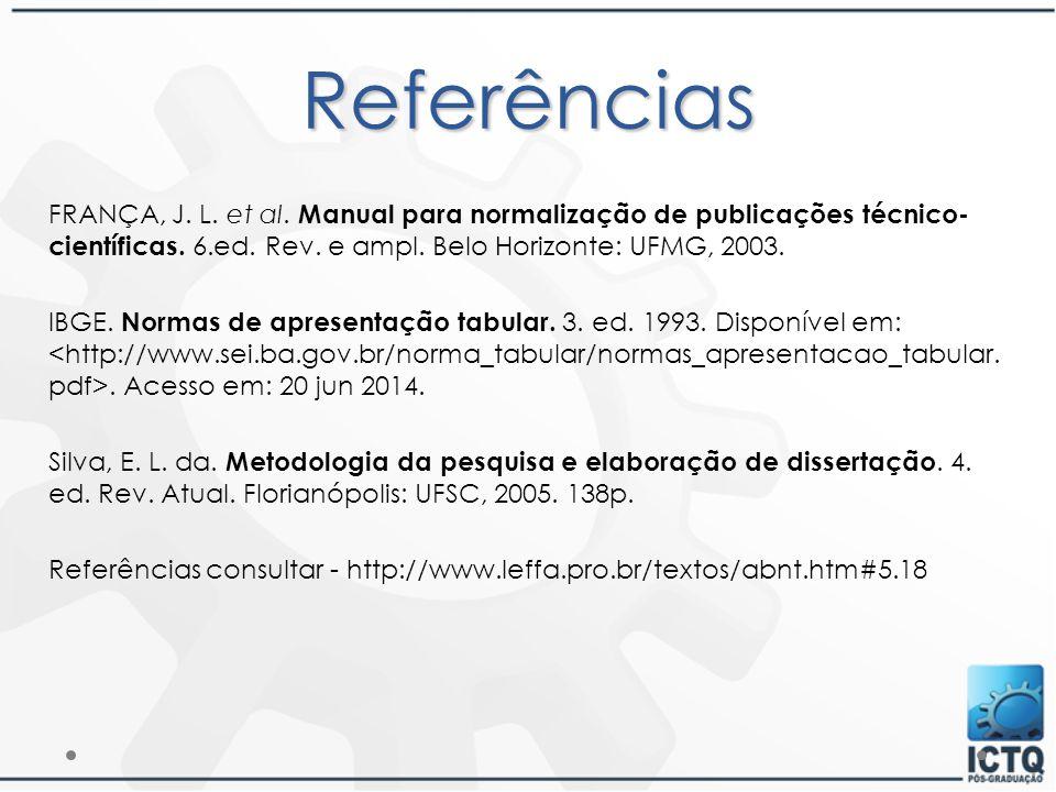 Referências FRANÇA, J. L. et al. Manual para normalização de publicações técnico-científicas. 6.ed. Rev. e ampl. Belo Horizonte: UFMG, 2003.