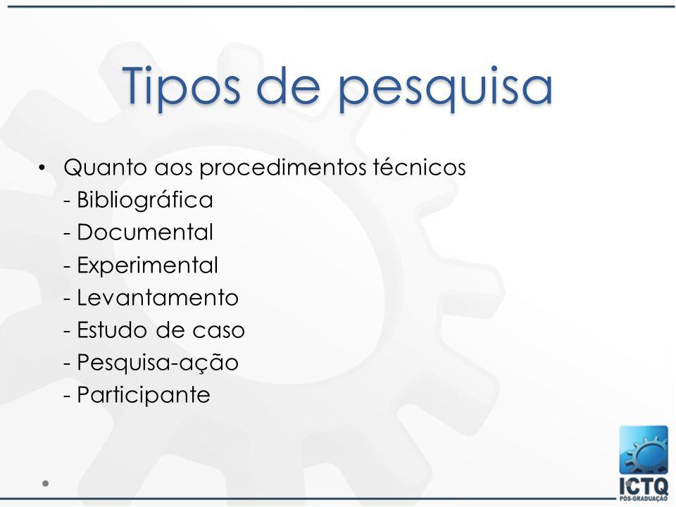Tipos de pesquisa Quanto aos procedimentos técnicos - Bibliográfica