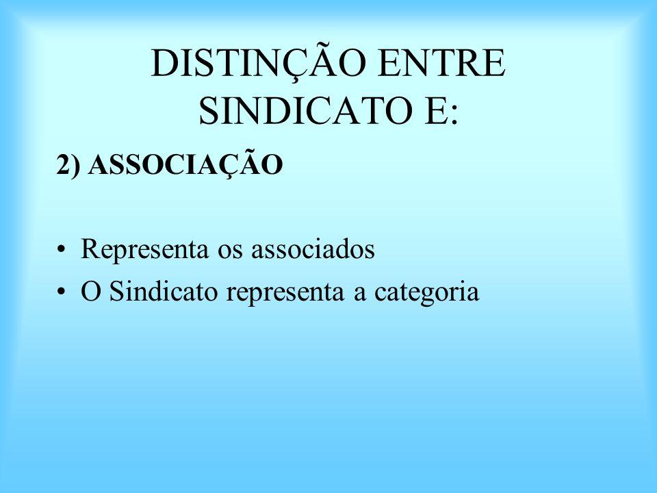 DISTINÇÃO ENTRE SINDICATO E: