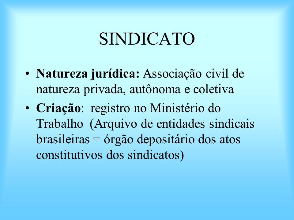 SINDICATO Natureza jurídica: Associação civil de natureza privada, autônoma e coletiva.