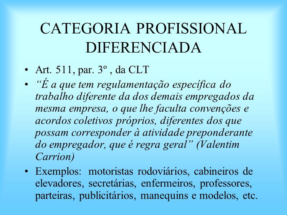 CATEGORIA PROFISSIONAL DIFERENCIADA