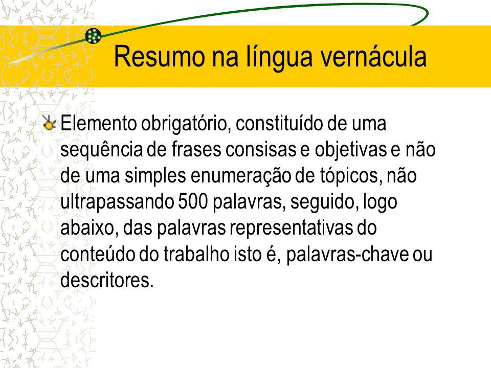 Resumo na língua vernácula