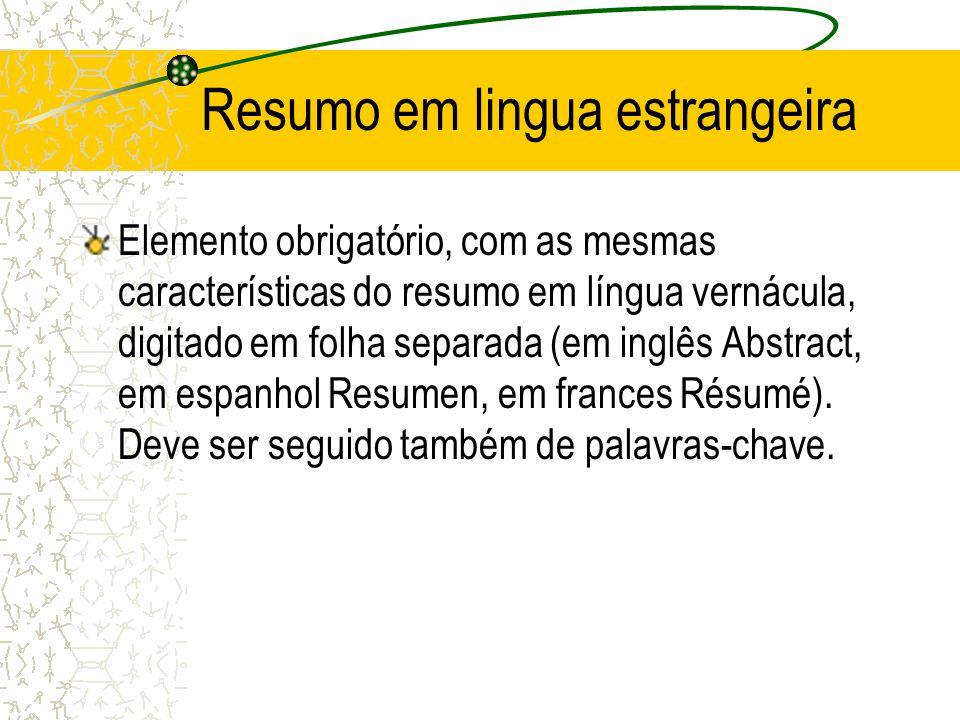 Resumo em lingua estrangeira