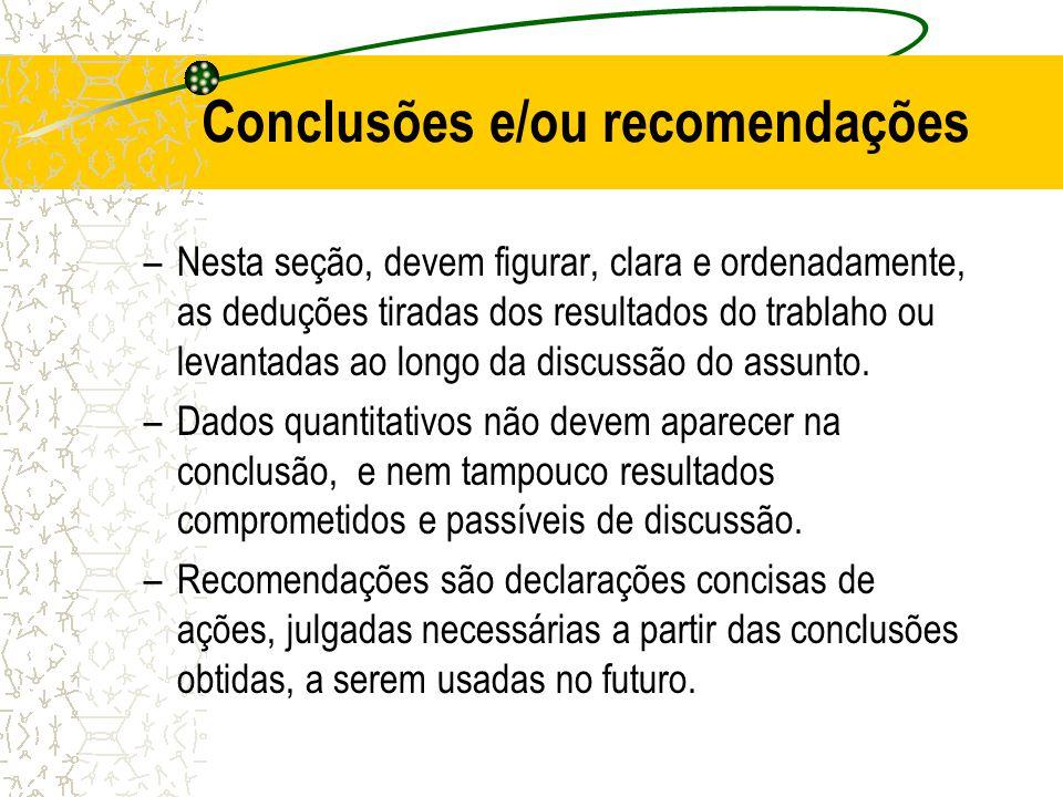 Conclusões e/ou recomendações