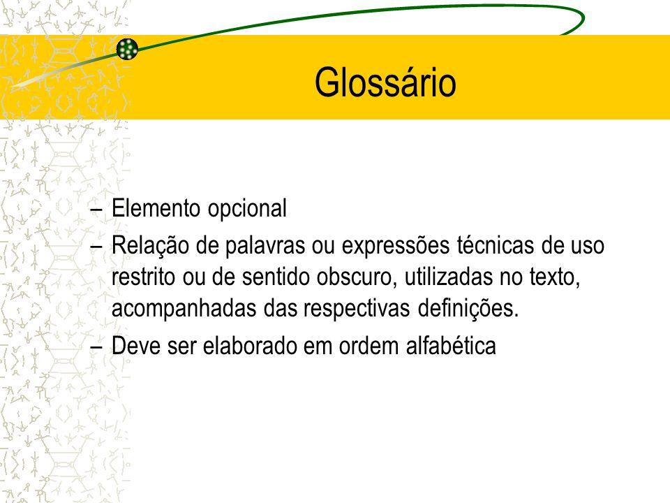 Glossário Elemento opcional