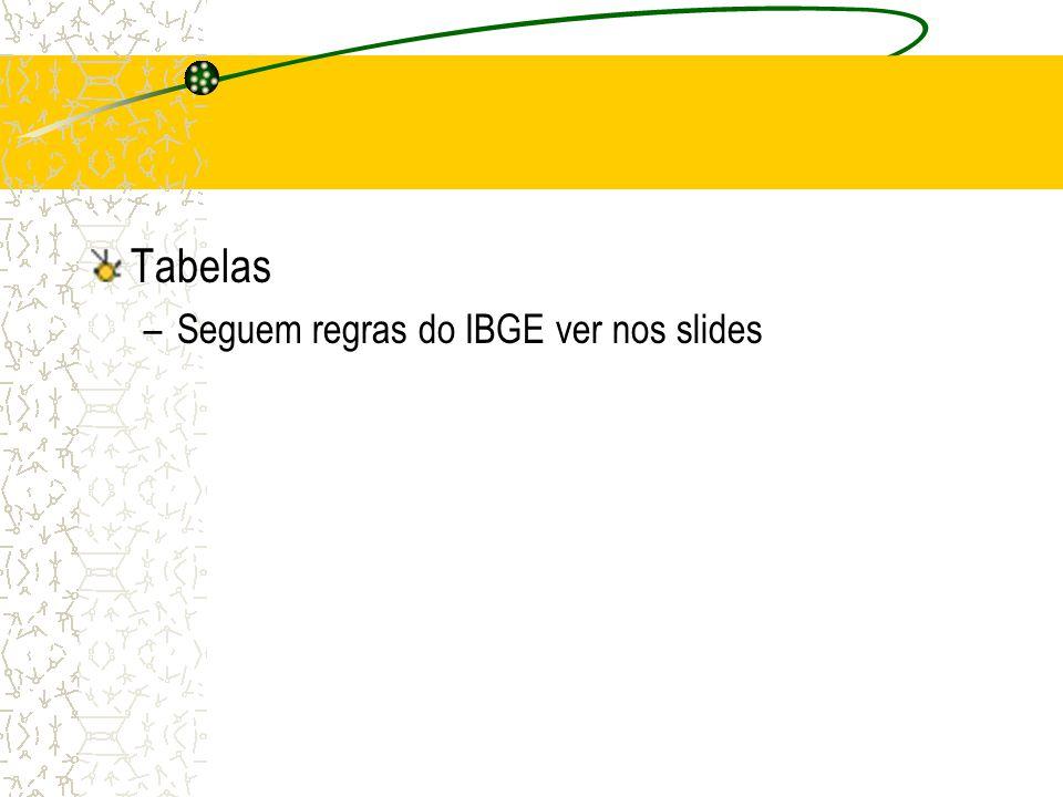 Tabelas Seguem regras do IBGE ver nos slides