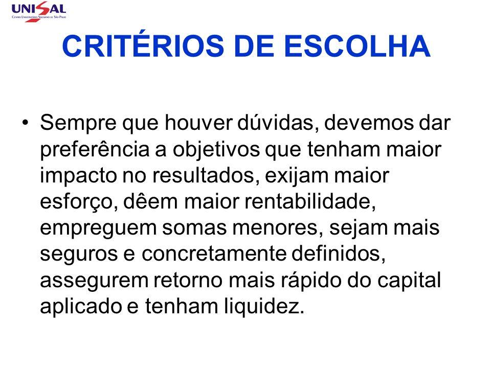CRITÉRIOS DE ESCOLHA