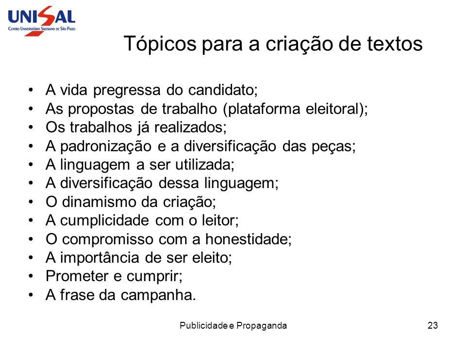 Tópicos para a criação de textos