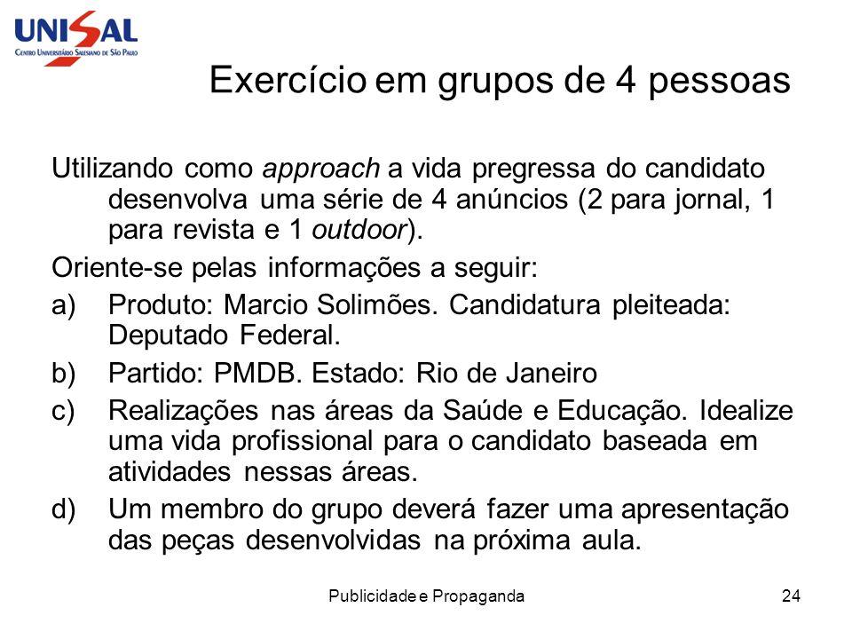 Exercício em grupos de 4 pessoas