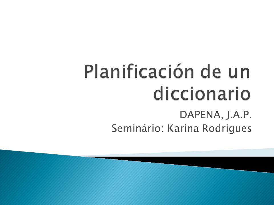 Planificación de un diccionario